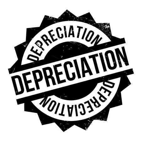 accountancy: Depreciation rubber stamp. Grunge design with dust scratches. Effects can be easily removed for a clean, crisp look. Color is easily changed.