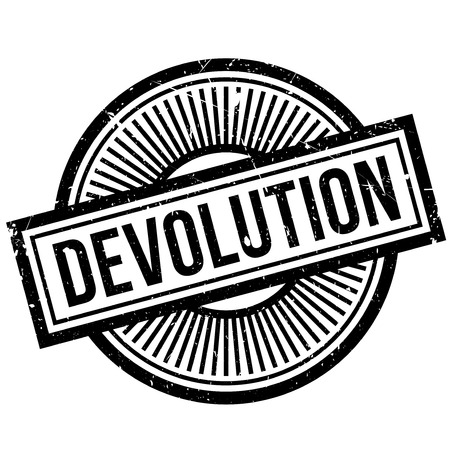 Devolution rubber stamp. Grunge design with dust scratches. Effects can be easily removed for a clean, crisp look. Color is easily changed. 版權商用圖片 - 69729278