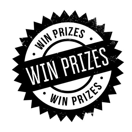 Win prizes stamp. Grunge design with dust scratches. Effects can be easily removed for a clean, crisp look. Color is easily changed.