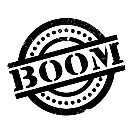 Boom rubber stamp. Grunge design with dust scratches. Effects can be easily removed for a clean, crisp look. Color is easily changed.