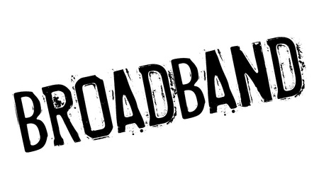 Broadband rubber stamp. Grunge design with dust scratches. Effects can be easily removed for a clean, crisp look. Color is easily changed. Stock Photo