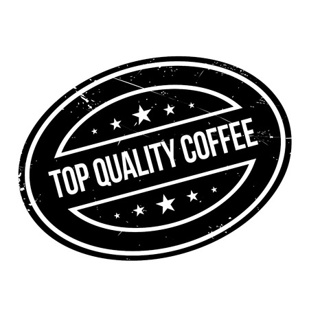 trait: Top Quality Coffee rubber stamp. Grunge design with dust scratches. Effects can be easily removed for a clean, crisp look. Color is easily changed. Illustration