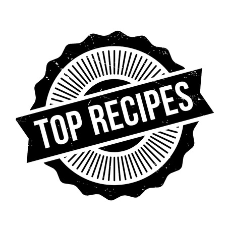 Top Recipes rubber stamp. Grunge design with dust scratches. Effects can be easily removed for a clean, crisp look. Color is easily changed.