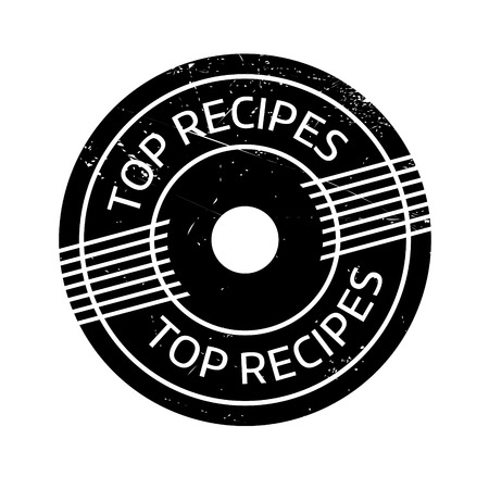 culminating: Top Recipes rubber stamp. Grunge design with dust scratches. Effects can be easily removed for a clean, crisp look. Color is easily changed.