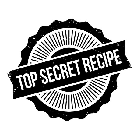 Top Secret Recipe rubber stamp. Grunge design with dust scratches. Effects can be easily removed for a clean, crisp look. Color is easily changed. Illustration
