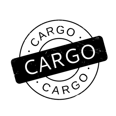 Cargo rubber stamp. Grunge design with dust scratches. Effects can be easily removed for a clean, crisp look. Color is easily changed.