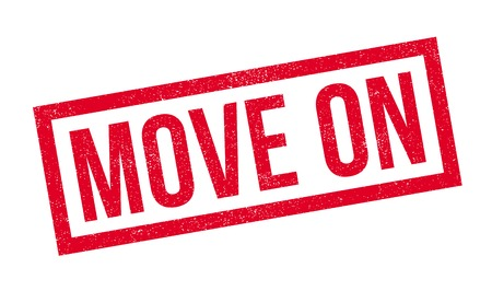 Move On rubber stamp. Grunge design with dust scratches. Effects can be easily removed for a clean, crisp look. Color is easily changed. Stock Photo