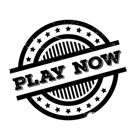 Play Now rubber stamp. Grunge design with dust scratches. Effects can be easily removed for a clean, crisp look. Color is easily changed. Illustration