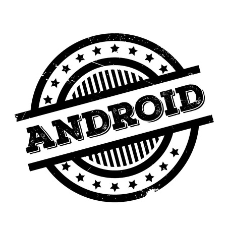 android tablet: Android rubber stamp. Grunge design with dust scratches. Effects can be easily removed for a clean, crisp look. Color is easily changed.