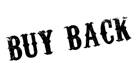 grocer: Buy Back rubber stamp. Grunge design with dust scratches. Effects can be easily removed for a clean, crisp look. Color is easily changed. Illustration