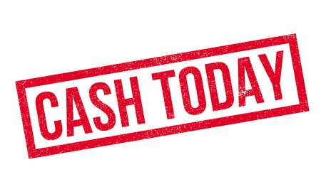 voguish: Cash Today rubber stamp. Grunge design with dust scratches. Effects can be easily removed for a clean, crisp look. Color is easily changed. Stock Photo