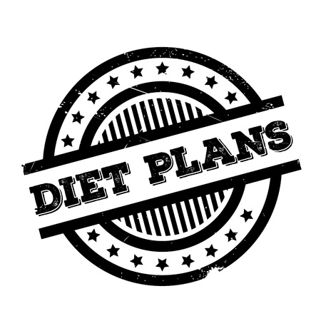 Diet Plans rubber stamp. Grunge design with dust scratches. Effects can be easily removed for a clean, crisp look. Color is easily changed.