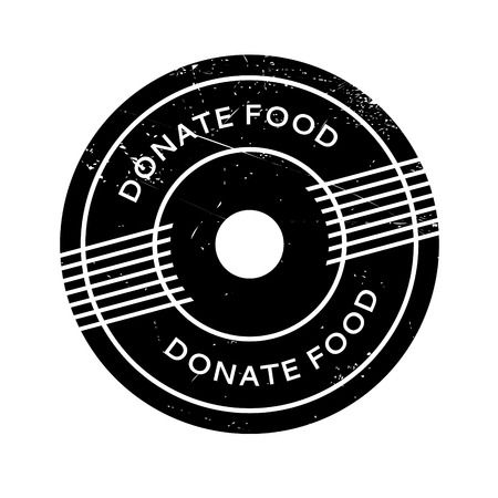larder: Donate Food rubber stamp. Grunge design with dust scratches. Effects can be easily removed for a clean, crisp look. Color is easily changed.