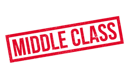 clase media: Middle Class rubber stamp. Grunge design with dust scratches. Effects can be easily removed for a clean, crisp look. Color is easily changed.