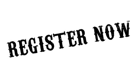 enlist: Register Now rubber stamp. Grunge design with dust scratches. Effects can be easily removed for a clean, crisp look. Color is easily changed. Illustration