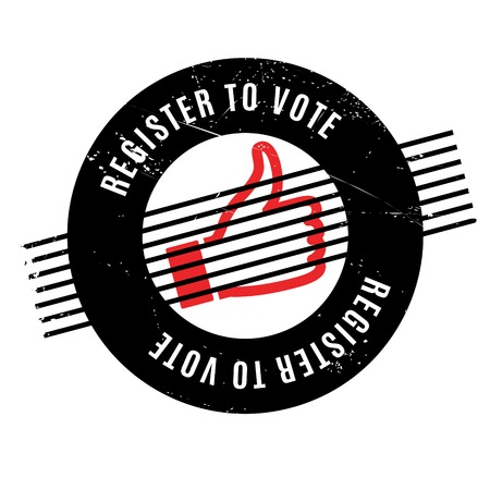 suffrage: Register To Vote rubber stamp. Grunge design with dust scratches. Effects can be easily removed for a clean, crisp look. Color is easily changed.