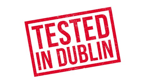 leinster: Tested In Dublin rubber stamp. Grunge design with dust scratches. Effects can be easily removed for a clean, crisp look. Color is easily changed. Stock Photo