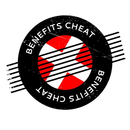 handout: Benefits Cheat rubber stamp. Grunge design with dust scratches. Effects can be easily removed for a clean, crisp look. Color is easily changed. Illustration