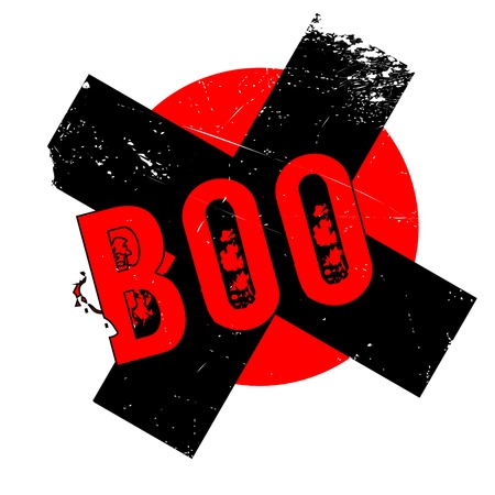 Boo rubber stamp. Grunge design with dust scratches. Effects can be easily removed for a clean, crisp look. Color is easily changed. Illustration