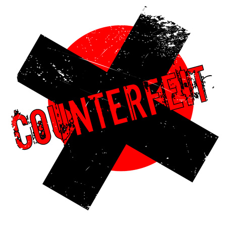counterfeit: Counterfeit rubber stamp. Grunge design with dust scratches. Effects can be easily removed for a clean, crisp look. Color is easily changed. Stock Photo