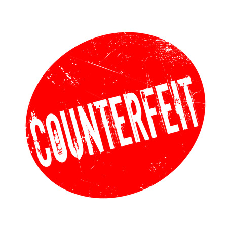 Counterfeit rubber stamp. Grunge design with dust scratches. Effects can be easily removed for a clean, crisp look. Color is easily changed. Stock Photo