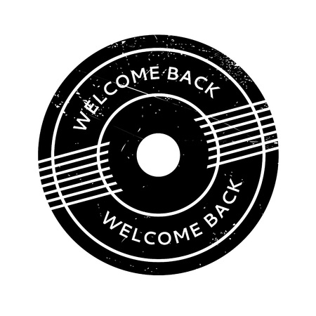 astern: Welcome Back rubber stamp. Grunge design with dust scratches. Effects can be easily removed for a clean, crisp look. Color is easily changed. Illustration