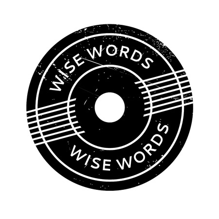 enlightened: Wise Words rubber stamp. Grunge design with dust scratches. Effects can be easily removed for a clean, crisp look. Color is easily changed. Illustration