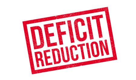 Deficit Reduction rubber stamp. Grunge design with dust scratches. Effects can be easily removed for a clean, crisp look. Color is easily changed.