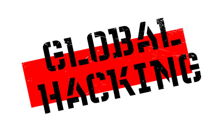 Global Hacking rubber stamp. Grunge design with dust scratches. Effects can be easily removed for a clean, crisp look. Color is easily changed. Illustration