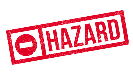 health threat: Hazard rubber stamp. Grunge design with dust scratches. Effects can be easily removed for a clean, crisp look. Color is easily changed.