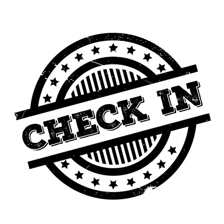 checking account: Check-In rubber stamp. Grunge design with dust scratches. Effects can be easily removed for a clean, crisp look. Color is easily changed.