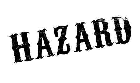 endangerment: Hazard rubber stamp. Grunge design with dust scratches. Effects can be easily removed for a clean, crisp look. Color is easily changed.