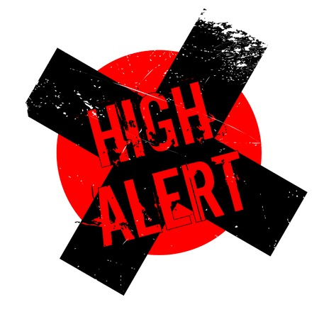 risky situation: High Alert rubber stamp. Grunge design with dust scratches. Effects can be easily removed for a clean, crisp look. Color is easily changed.