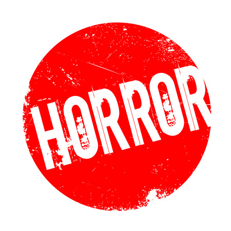 Horror rubber stamp. Grunge design with dust scratches. Effects can be easily removed for a clean, crisp look. Color is easily changed. Stock Photo