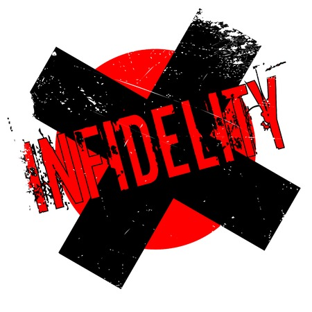 Infidelity rubber stamp. Grunge design with dust scratches. Effects can be easily removed for a clean, crisp look. Color is easily changed. Illustration