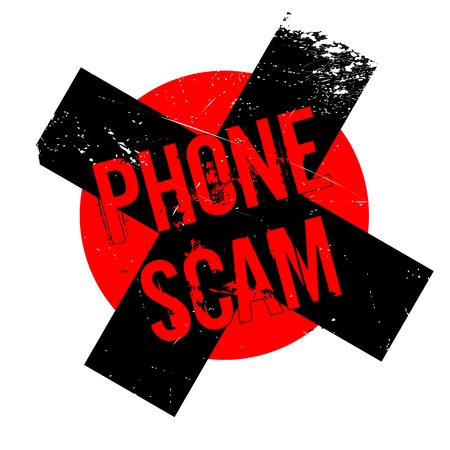 Phone Scam rubber stamp. Grunge design with dust scratches. Effects can be easily removed for a clean, crisp look. Color is easily changed. Stock Photo