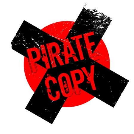 Pirate Copy rubber stamp. Grunge design with dust scratches. Effects can be easily removed for a clean, crisp look. Color is easily changed.