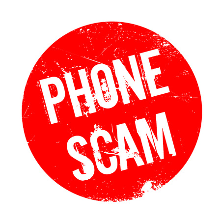 Phone Scam rubber stamp. Grunge design with dust scratches. Effects can be easily removed for a clean, crisp look. Color is easily changed. Illustration
