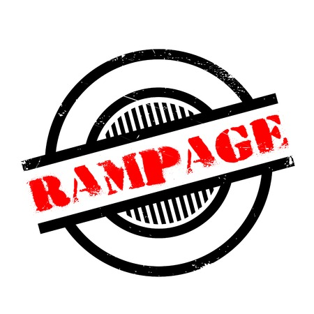 outrage: Rampage rubber stamp. Grunge design with dust scratches. Effects can be easily removed for a clean, crisp look. Color is easily changed.