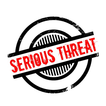 risky behavior: Serious Threat rubber stamp. Grunge design with dust scratches. Effects can be easily removed for a clean, crisp look. Color is easily changed.