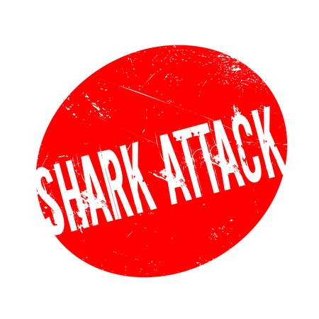 Shark Attack rubber stamp. Grunge design with dust scratches. Effects can be easily removed for a clean, crisp look. Color is easily changed. Stock Photo