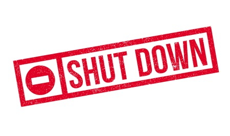 shut down: Shut Down rubber stamp. Grunge design with dust scratches. Effects can be easily removed for a clean, crisp look. Color is easily changed.