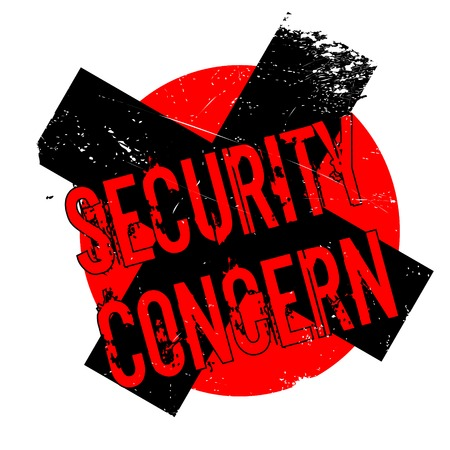 Security Concern rubber stamp. Grunge design with dust scratches. Effects can be easily removed for a clean, crisp look. Color is easily changed. Stock Photo
