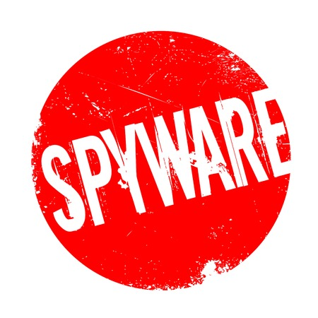 Spyware rubber stamp. Grunge design with dust scratches. Effects can be easily removed for a clean, crisp look. Color is easily changed. Illustration