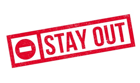 out dated: Stay Out rubber stamp. Grunge design with dust scratches. Effects can be easily removed for a clean, crisp look. Color is easily changed.
