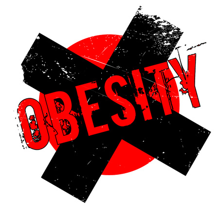 Obesity rubber stamp. Grunge design with dust scratches. Effects can be easily removed for a clean, crisp look. Color is easily changed. Illustration