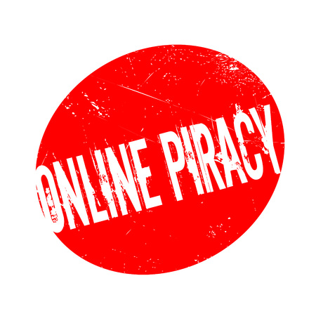 plagiarism: Online Piracy rubber stamp. Grunge design with dust scratches. Effects can be easily removed for a clean, crisp look. Color is easily changed.