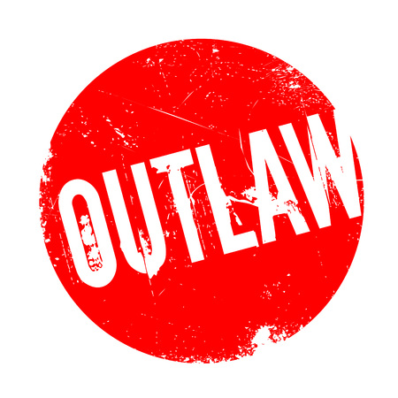 Outlaw rubber stamp. Grunge design with dust scratches. Effects can be easily removed for a clean, crisp look. Color is easily changed. Illustration