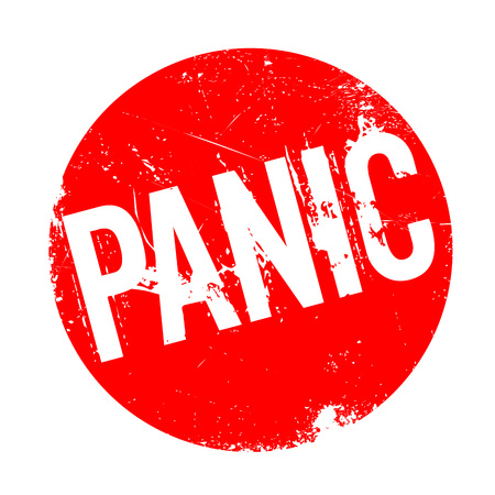 Panic rubber stamp. Grunge design with dust scratches. Effects can be easily removed for a clean, crisp look. Color is easily changed.
