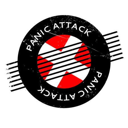 Panic Attack rubber stamp. Grunge design with dust scratches. Effects can be easily removed for a clean, crisp look. Color is easily changed. Stock Photo